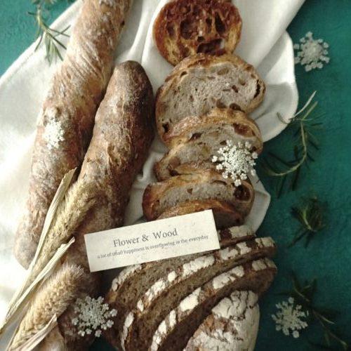 写真撮影用の背景ボードとパンの写真